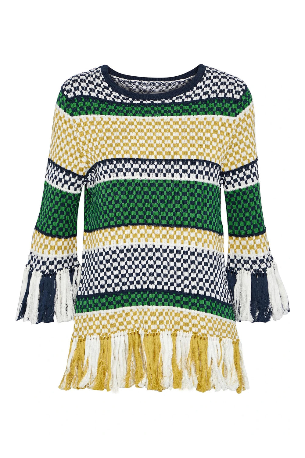 Knit Fringed Striped Tee