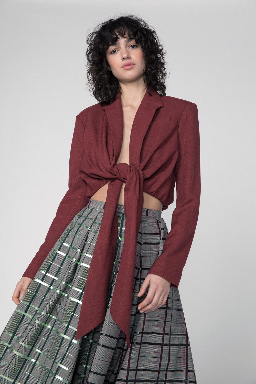 Cropped Tie Jacket