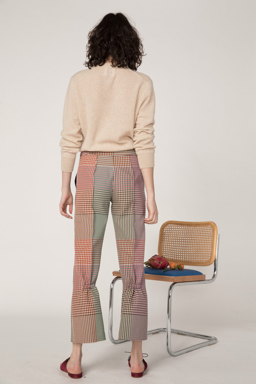 Rosie Assoulin Pre-Fall 2019 Scrunchy Pant. Straight leg cropped pant. Elastic behind the knee. Soft flare. Pockets. Multicolored plaid. 100% Polyester. Sizes 0 - 12.