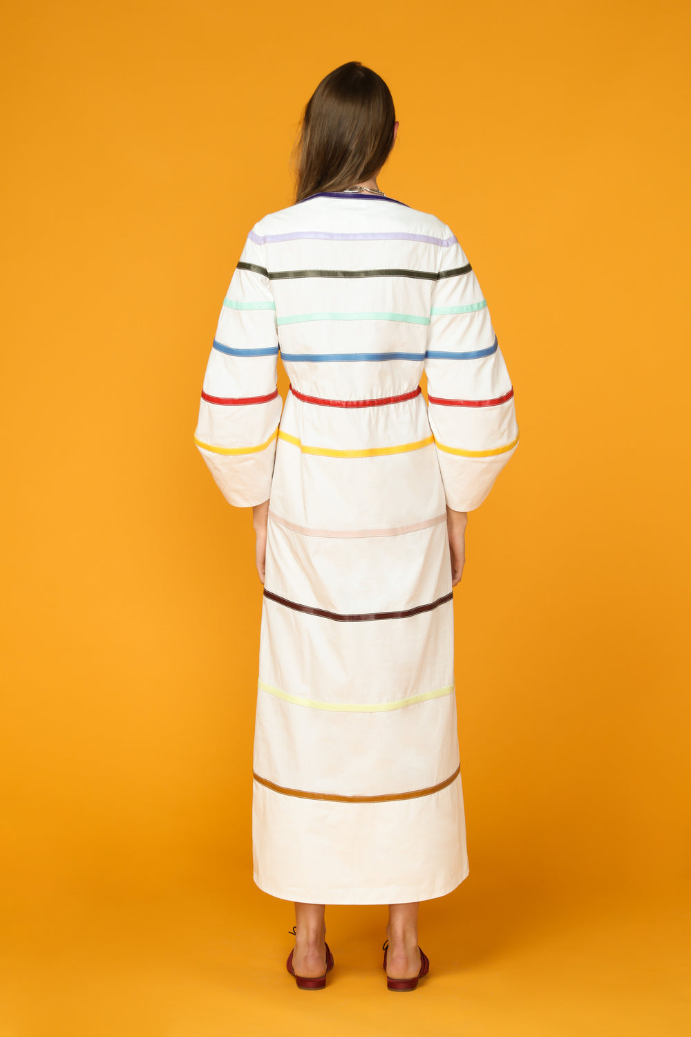 Rainbow Leather Caftan Dress