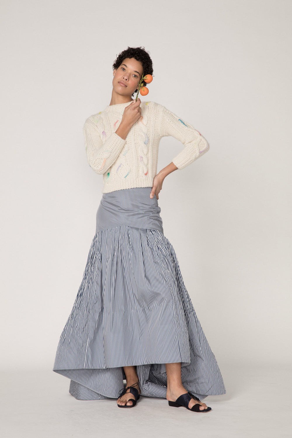 Rosie Assoulin Pre-Fall 2019 Brush Skirt. High-waisted ball skirt. High-low hemline. Dramatic flare. Ruched bottom. Navy. 100% Cotton. Sizes 0 - 12.