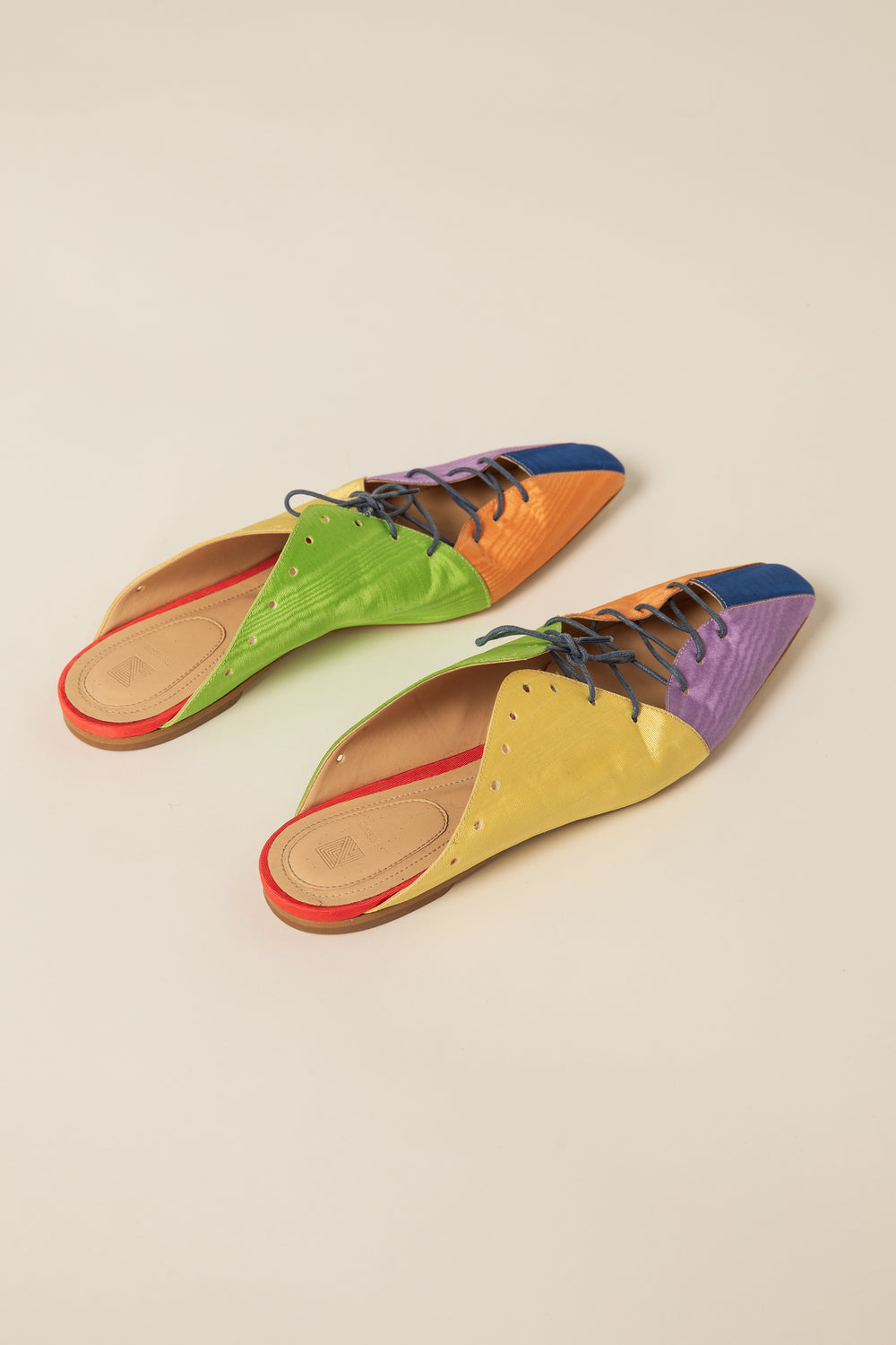 Rosie Assoulin Fall 2019 Double Lace-Up Ballet Slide. Multicolored pointed slide. Adjustable front laces. Panel cutout. Rainbow. 100% Viscose. Sizes 35 - 41.