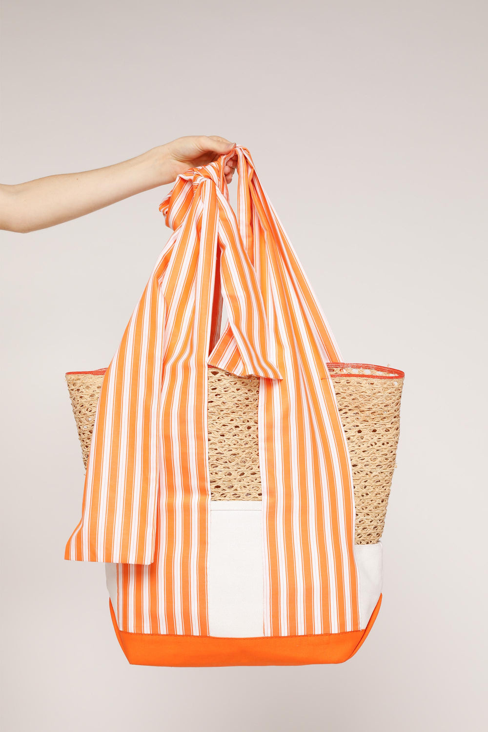 Large Wide Stripe Basket Tote