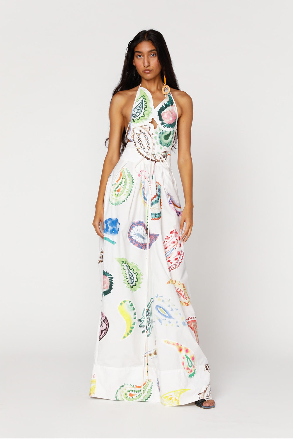 Patched Paisley Halter Dress