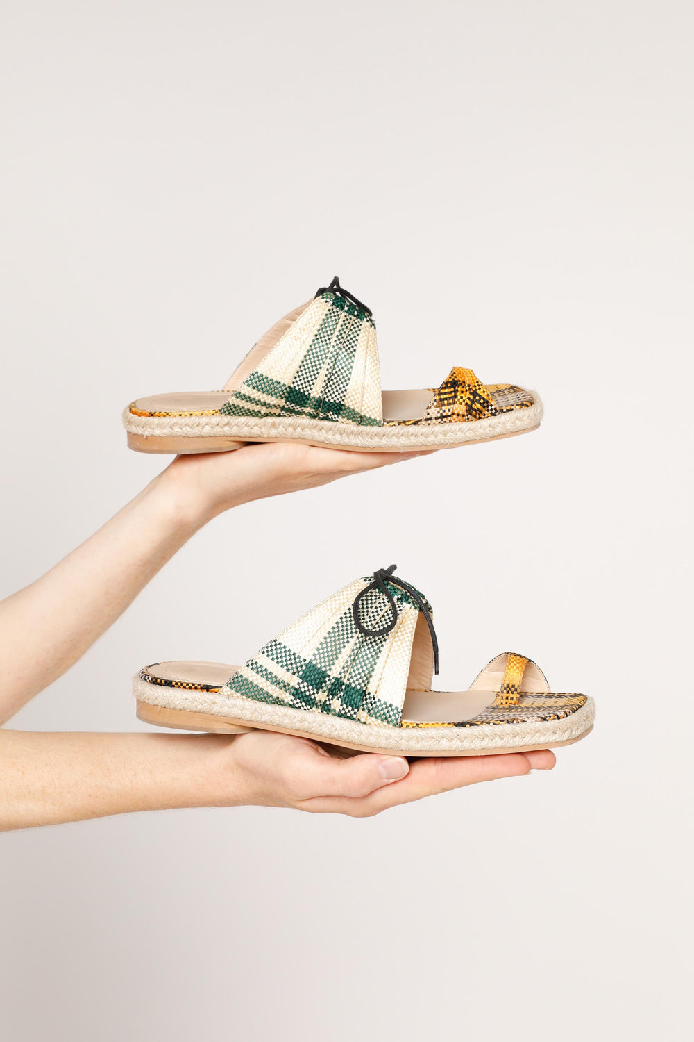 Pleated Funky Toe Espadrille Slides