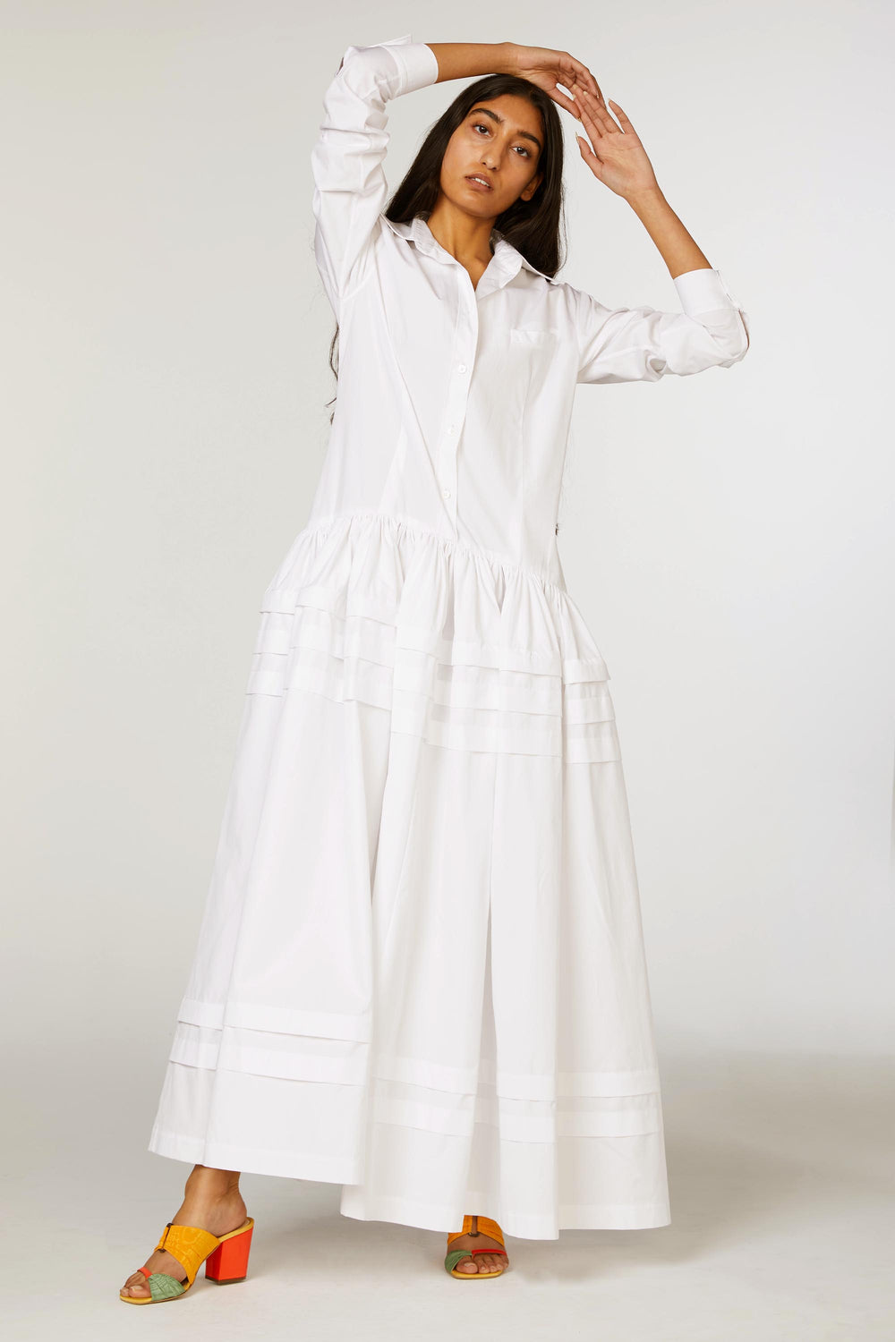 Drop Waist Pleat Stripe Shirtdress
