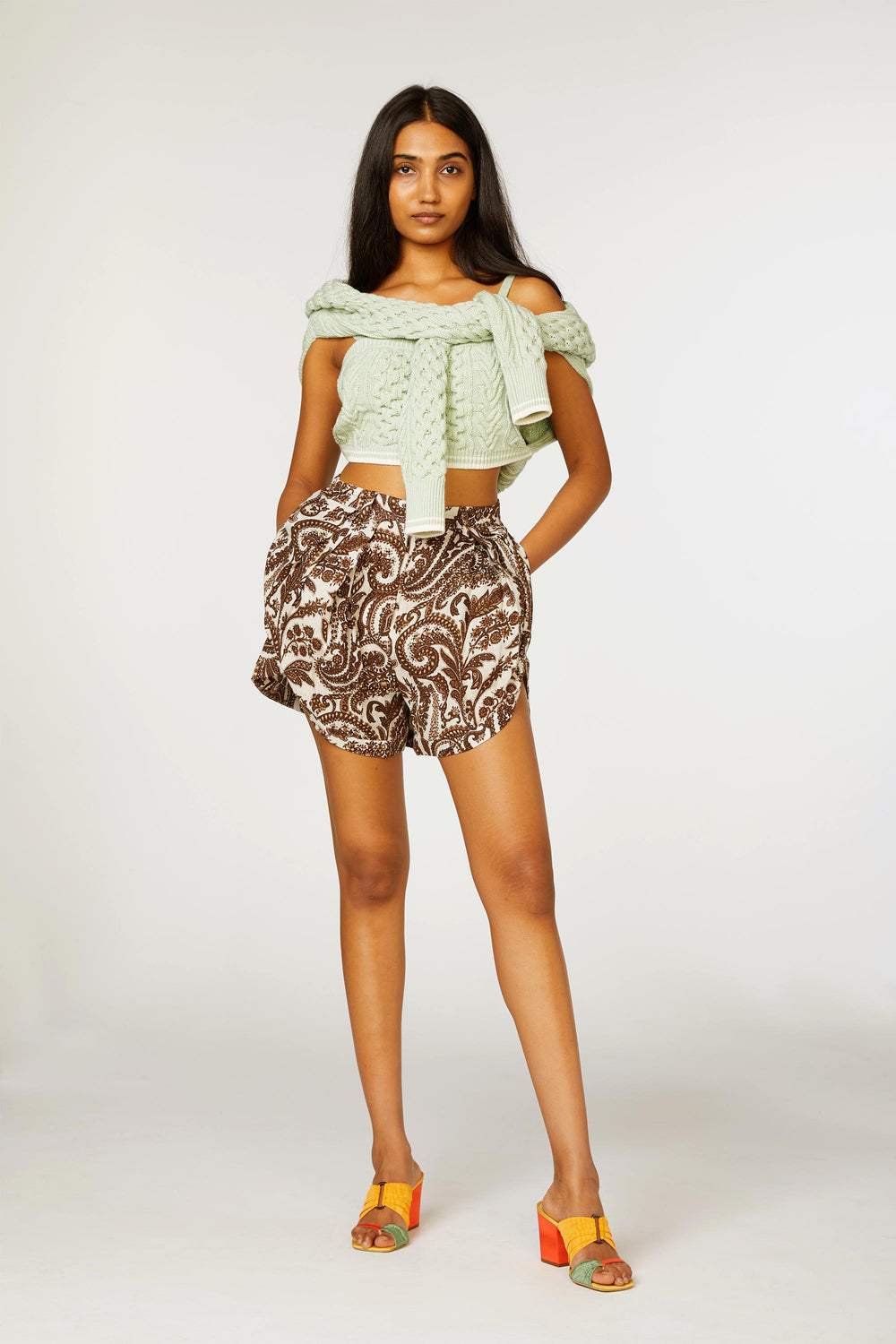 Pleated Asymmetrical Shorts