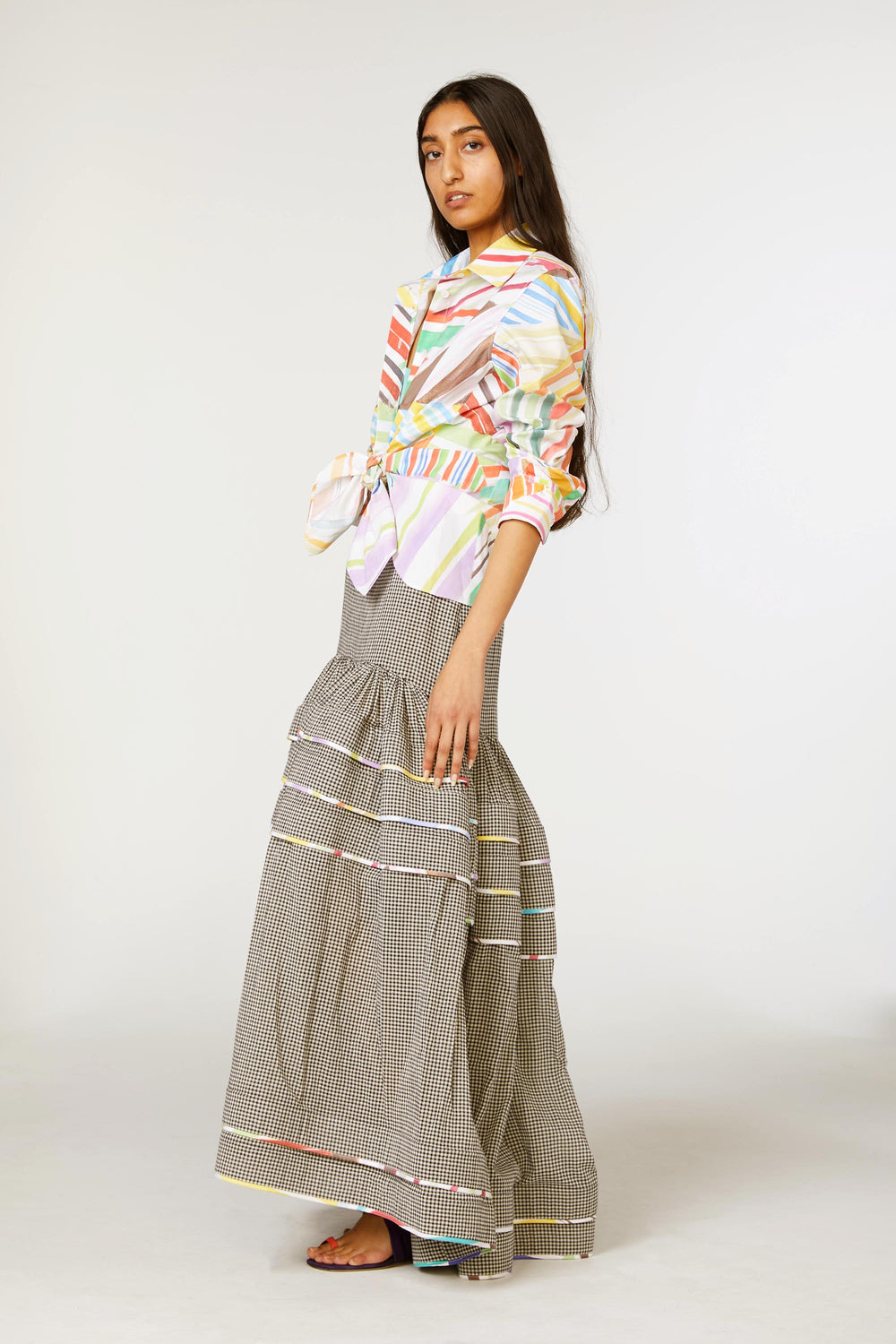 Dropped Waist Pleat Stripe Skirt