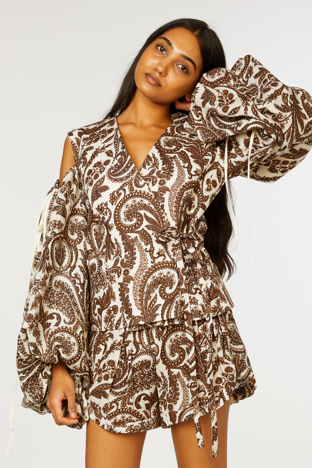 Cold Shoulder Wrap Shirt