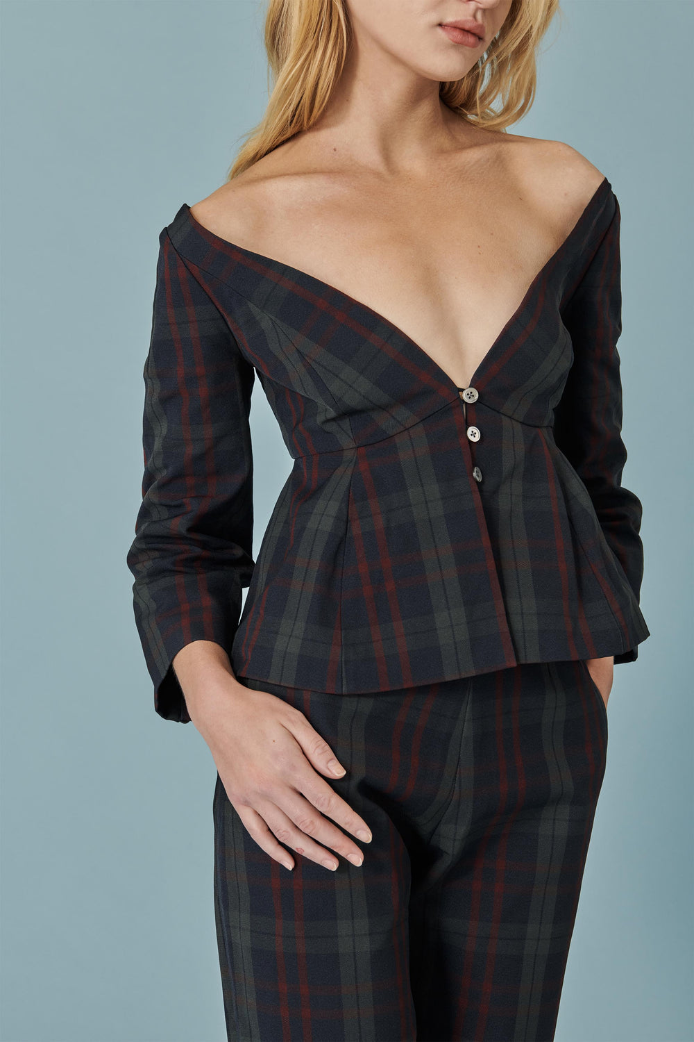 Tip-of-Shoulder Peplum Top