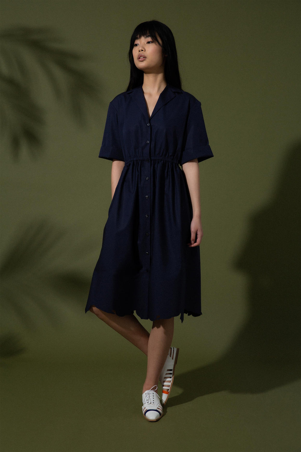 Jane Scalloped Shirt Dress