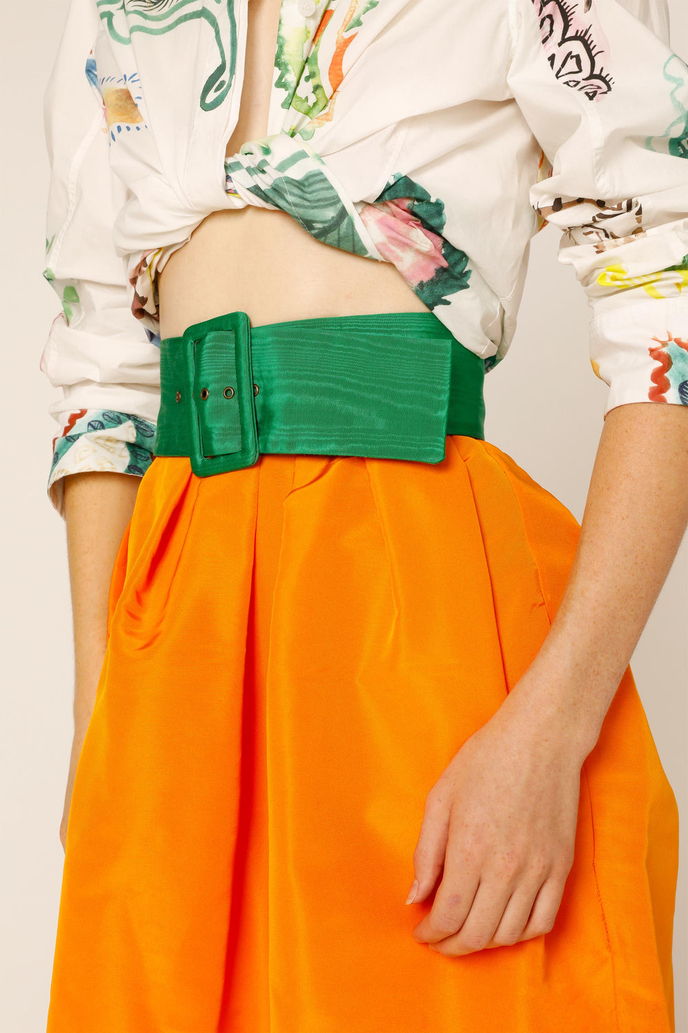 Belted Pleated Column Skirt