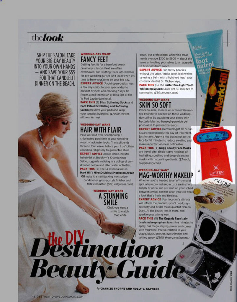 Luster Premium White Featured in Destination Weddings & Honeymoons – December 2014