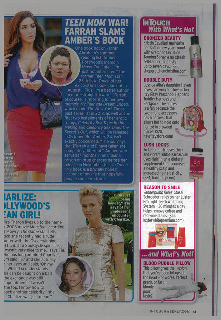 Luster Premium White Featured in InTouch – August 2014