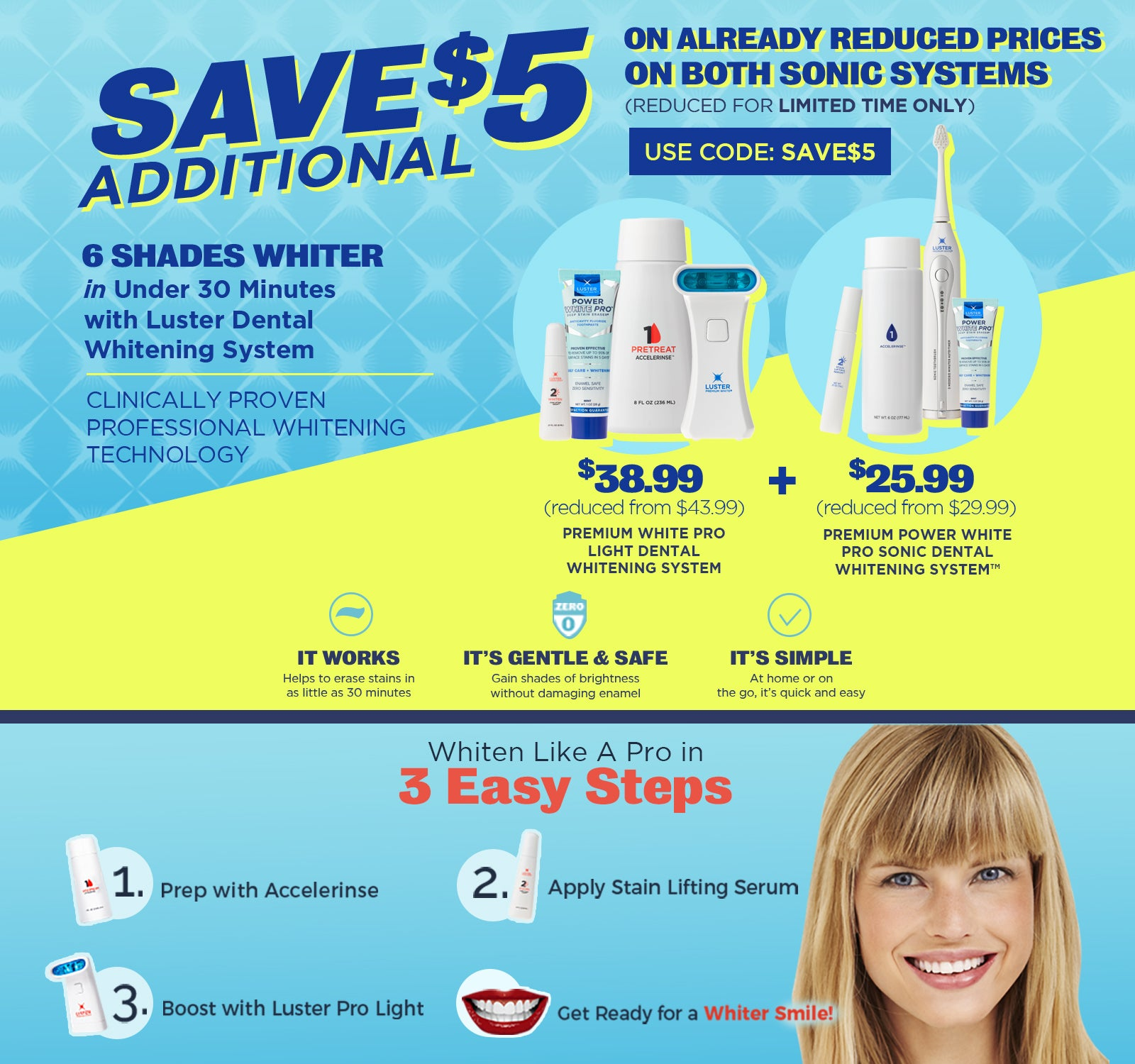 Save $5 on Luster Premium White Dental Whitening Systems
