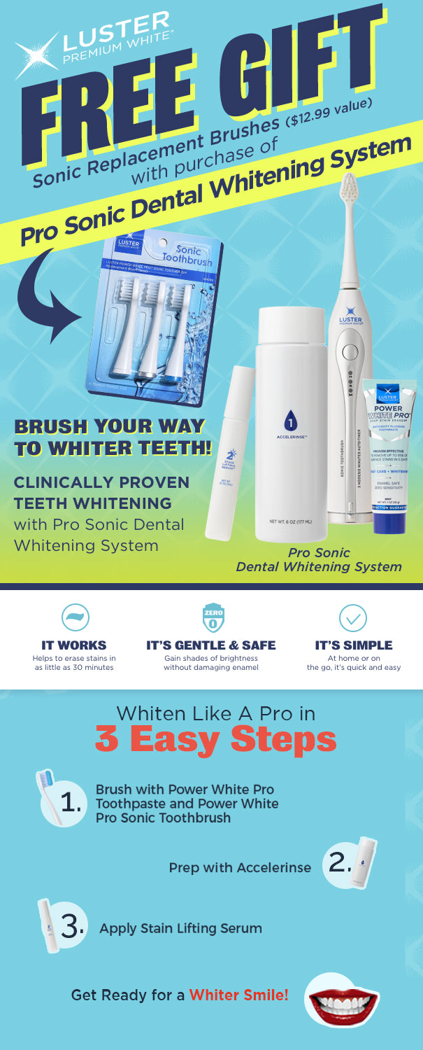 Free Replacement Brushes with Pro Sonic Whitening System