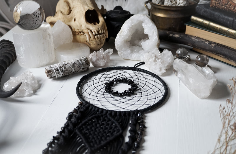 Black Onyx Macrame Dream Catcher