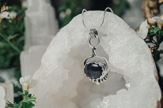 Black Moonstone Oval Sterling Silver Necklace Sterling Silver