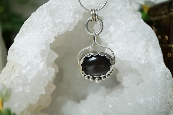 Black Moonstone Oval Sterling Silver Necklace