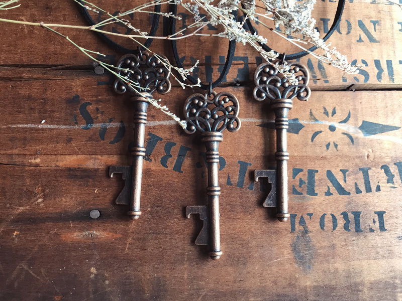 Bottle Opener Skeleton Key Necklace Brass