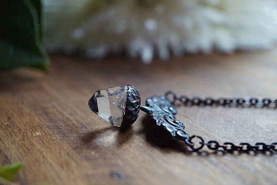 Clear Crystal Quartz Point Acorn Necklace Brass