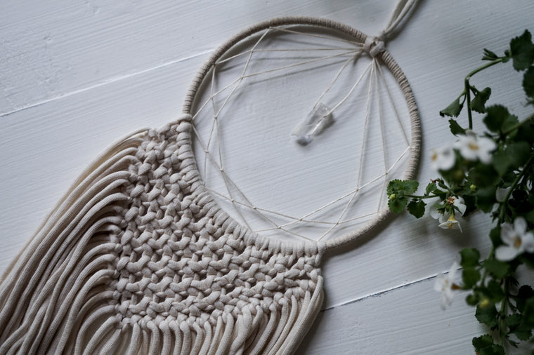 White Macrame Crystal Dream Catcher