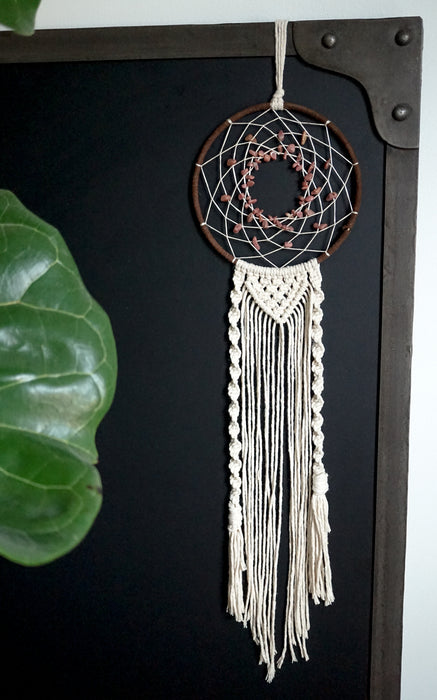 Rhodonite Crystal Dreamcatcher Home Decor