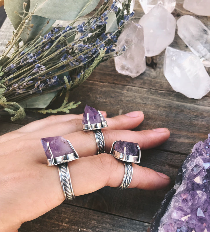 Boho Raw Elestial Amethyst Crystal Ring