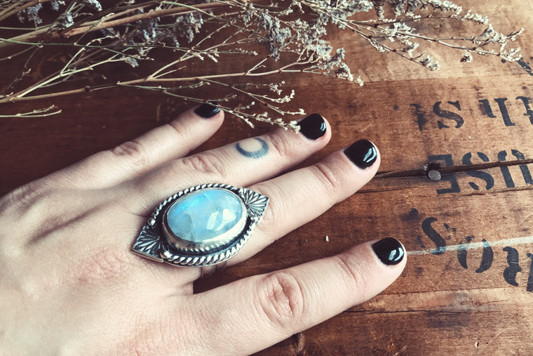 Moonstone Sterling Silver Hand Stamped Ring