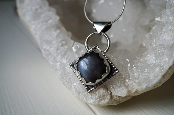 Black Moonstone Sterling Silver Necklace