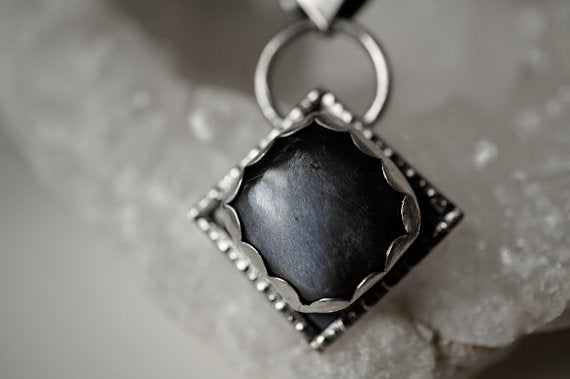 Black Moonstone Sterling Silver Necklace Sterling Silver