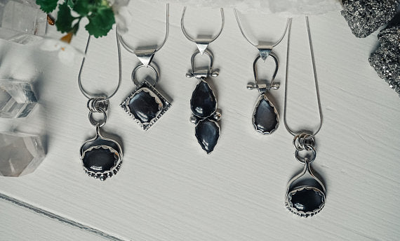 Black Moonstone Double Teardrop Sterling Silver Necklace Sterling Silver