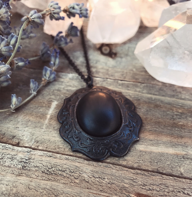 Black Onyx Ornate Brass Necklace Brass