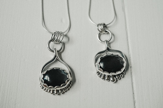 Oval Sterling Silver Necklace - Black Moonstone Sterling Silver