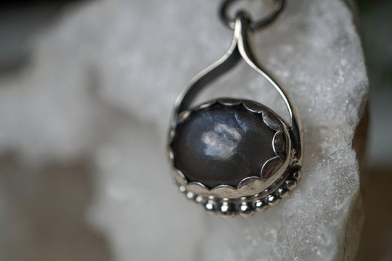 Oval Sterling Silver Necklace - Black Moonstone