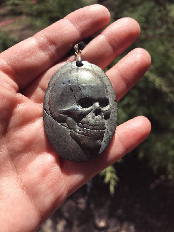Pyrite Skull Necklace Necklace