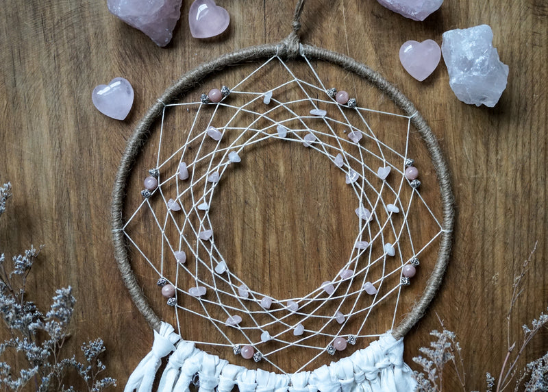 Rose Quartz Dream Catcher - Wall Hanging