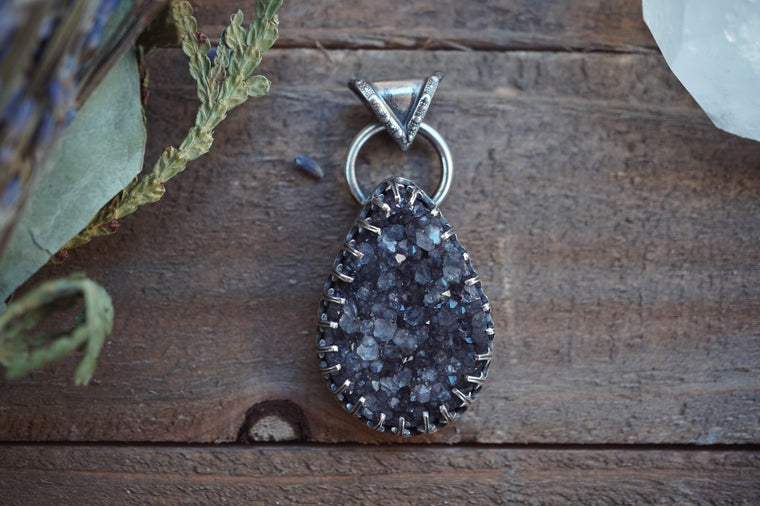 Sterling Silver Necklace with Druzy Pendant