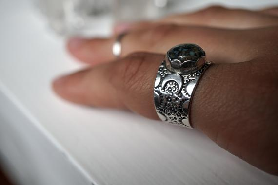 Turquoise Triple Moon Goddess Sterling Silver Ring