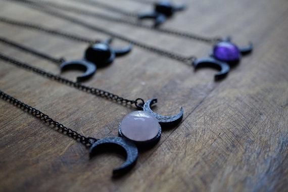 Amethyst Triple Moon Goddess Necklace Necklace
