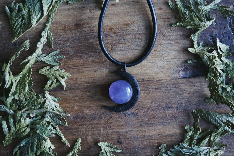 Black Moon and Amethyst Quartz Necklace