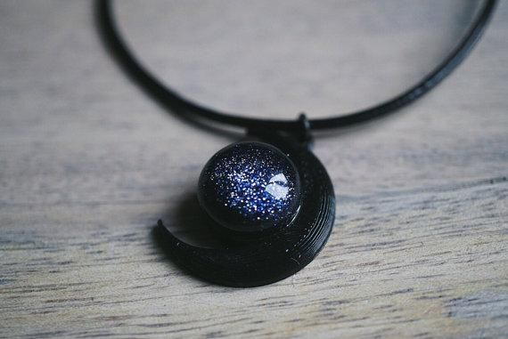 Black Moon and Blue Goldstone Necklace