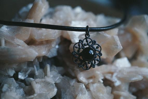 Black Obsidian Mandala Choker Necklace
