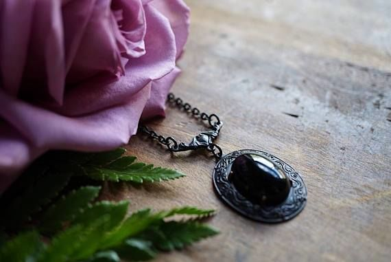 Black Onyx Brass Heart Necklace