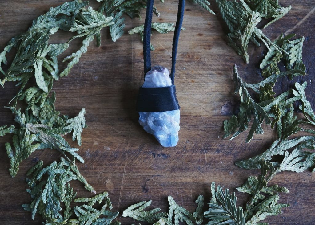 Blue Calcite Leather Wrapped Necklace Necklace