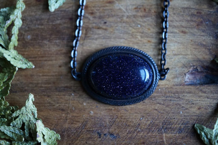 Blue Goldstone Victorian Brass Necklace Brass