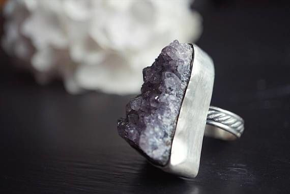 Boho Amethyst Ring -Size 9.5 Sterling Silver