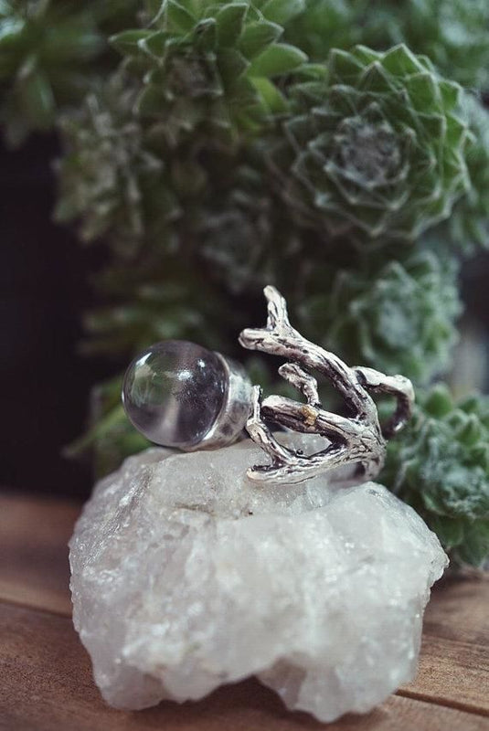 Branch Clear Quartz Crystal Ball Ring Ring