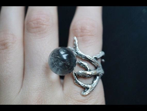 Branch Clear Quartz Crystal Ball Ring