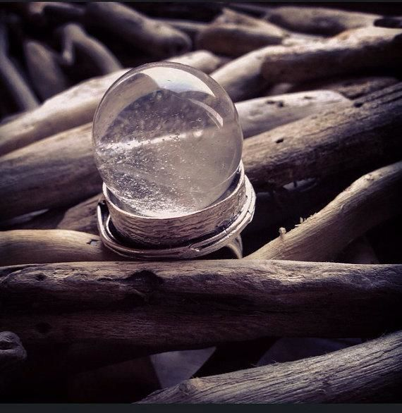 Clear Quartz Crystal Ball Ring